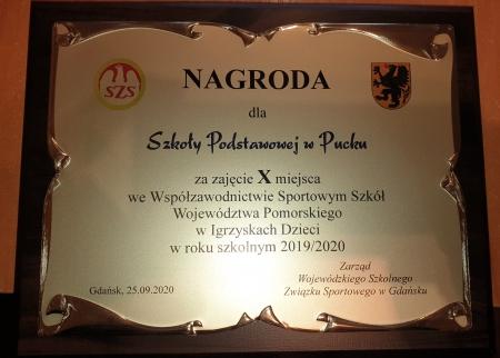 X miejsce we Współzawodnictwie Sportowym Szkół Województwa Pomorskiego.